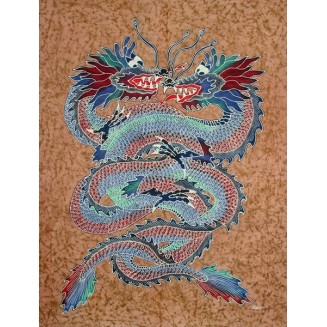 Two Colorfull Dragons Batik Painting