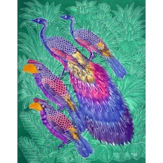 Birds on the tree batik painting