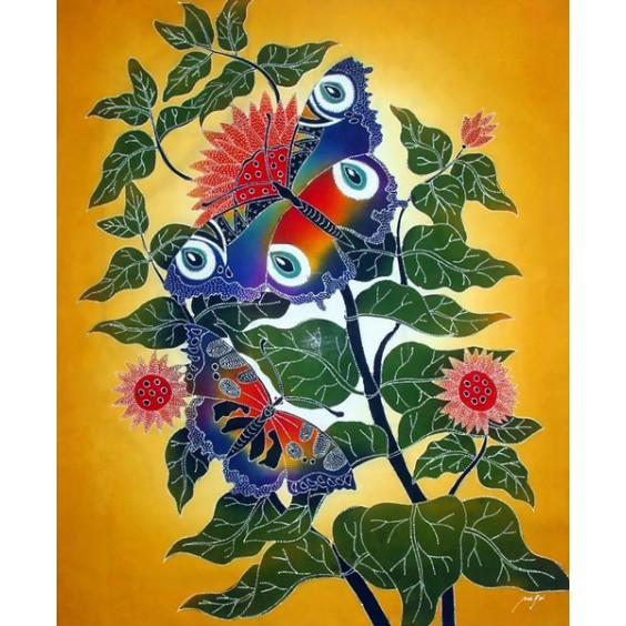 Butterflies are on a tree batik painting