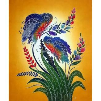 Butterflies are on a flower batik painting