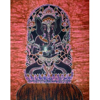 Statue of the god Ganesh batik painting
