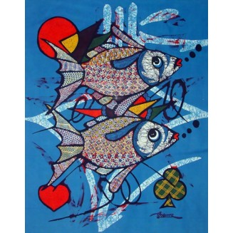 Two fish swimming batik painting
