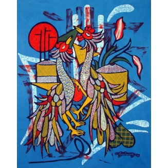 Rooster is fighting batik painting