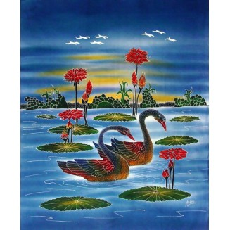 Two swans are swimming in a lake batik painting