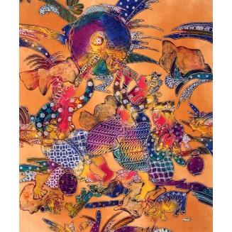 Party Scene batik Painting