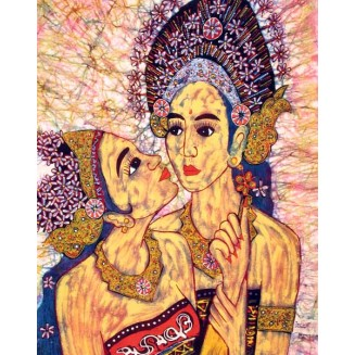 TWO GIRLS BATIK PAINTING