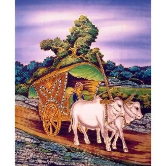 Traditional ox cart batik painting with glitter